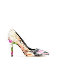 Multi colored Floral Leather Pumps