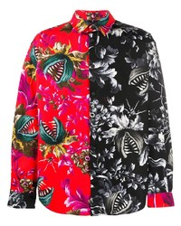 MSGM Two Tone Floral Print Shirt
