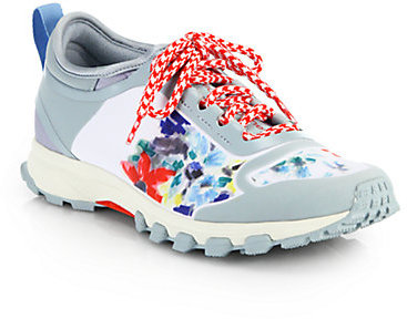 3205eb52a1 ... adidas by Stella McCartney Adizero Floral Print Rubber Fabric Sneakers  ...