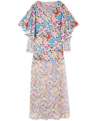 All Things Mochi Flora Printed Cotton Voile And Chiffon Maxi Dress