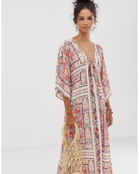 En Creme Floral And Border Print Maxi Dress With Drawstring