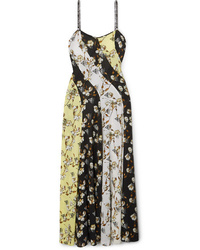Off-White Paneled Floral Print Med Maxi Dress