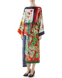 Gucci Patchwork Print Asymmetrical Silk Dress