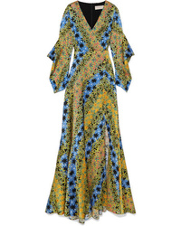 Peter Pilotto Printed Silk Jacquard Maxi Dress