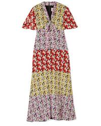 Valentino Floral Print Silk De Chine Midi Dress