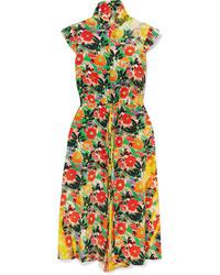 Prada Floral Print Silk Midi Dress