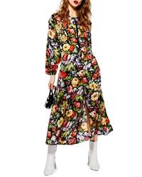 Topshop Floral Zip Through Midi Dress