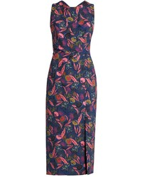 Justine floral leaf print midi dress medium 855316