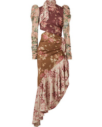 Zimmermann Unbridled Tempest Asymmetric Cutout Floral Print Dress