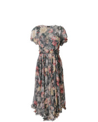 Zimmermann Washed Floral Print Asymmetric Hem Dress