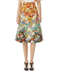 Gucci Floral Print Cady A Line Skirt