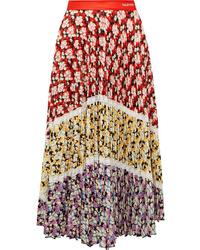 Valentino Med Pleated Floral Print Crepe Midi Skirt
