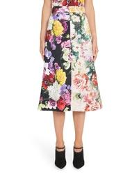Dolce & Gabbana Mixed Floral Print Brocade Skirt