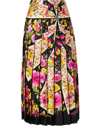 Gucci Pleated Floral Print Silk Twill Midi Skirt