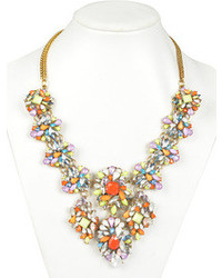 Choies Multicolor Rhinestone Floral Pendant Necklace