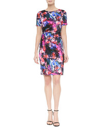 St. John Collection Mini Floralscape Print Tuck Pleated Dress Caviar Multi