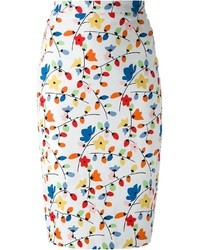 Multi colored Floral Pencil Skirt