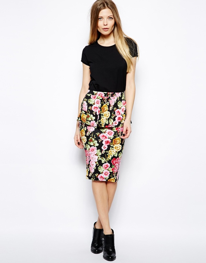 asos peplum pencil skirt in floral print multi where to