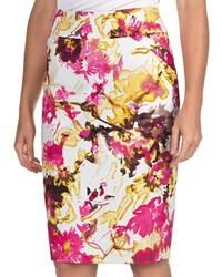 Womyn Floral Pencil Skirt Stretch Cotton