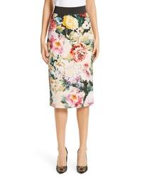 Dolce & Gabbana Floral Print Cady Pencil Skirt