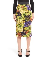 Dolce & Gabbana Grape Print Pencil Skirt