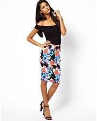 Lipsy Pencil Skirt In Blurred Floral Print Floral