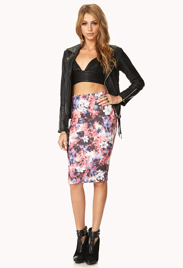 d39c43ef7e ... Pencil Skirts Forever 21 Watercolor Floral Bodycon Skirt ...