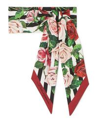 Dolce & Gabbana Floral Print Silk Twill Scarf
