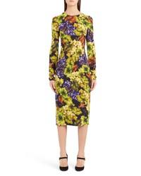 Dolce & Gabbana Grape Print Cady Body Con Dress