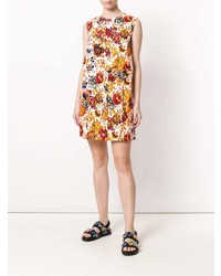 MSGM Floral Denim Shift Dress