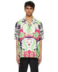 Valentino Purple World Arazzo Print Short Sleeve Shirt