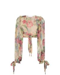 Zimmermann Melody Floral Print Cropped Silk Blouse