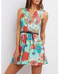 Charlotte Russe Belted Floral Skater Dress