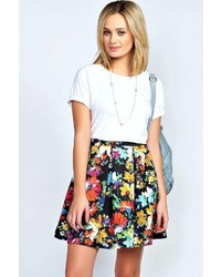 Boohoo bea bold floral print box pleat skater skirt medium 318770