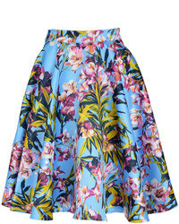 Choies blue floral pleated skater skirt with side zipper medium 71778