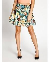 GUESS Floral Print Scuba Skater Skirt