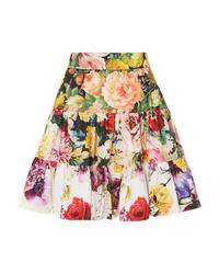Dolce & Gabbana Tiered Floral Print Cotton Poplin Mini Skirt