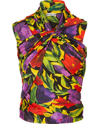 Balenciaga Ruched Twist Front Floral Print Stretch Jersey Top