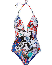 Etro Floral Print Halterneck Swimsuit