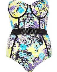River Island Purple Floral Mesh Insert Swimsuit