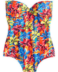 J.Crew Sunset Floral Bandeau One Piece Swimsuit