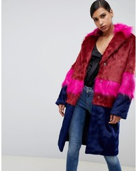 ASOS DESIGN Cutabout Blocked Fur Faux Coat
