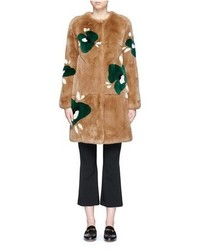 Floral print rex rabbit fur coat medium 3645192