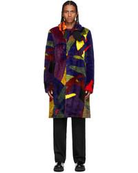 Sacai Multicolor Kaws Edition Faux Fur Colorblocked Coat