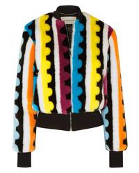 Mary Katrantzou Bullseye Printed Faux Fur Bomber Jacket