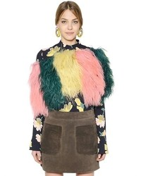 Marni Color Blocked Fur Shawl