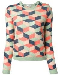 Carven geometric knit sweater medium 47391