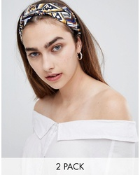 ASOS DESIGN Pack Of 2 Headbands In Mixed Geo