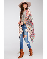 Abstract print embroidered kimono medium 149862