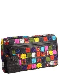 Black leather multi color patchwork zipper detail clutch medium 34348